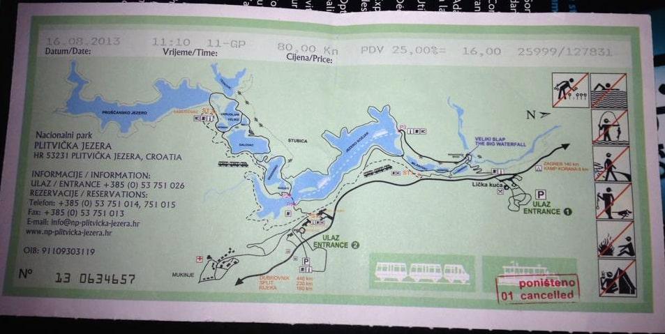 Ticket pour visiter les lacs de Plitvice en Croatie