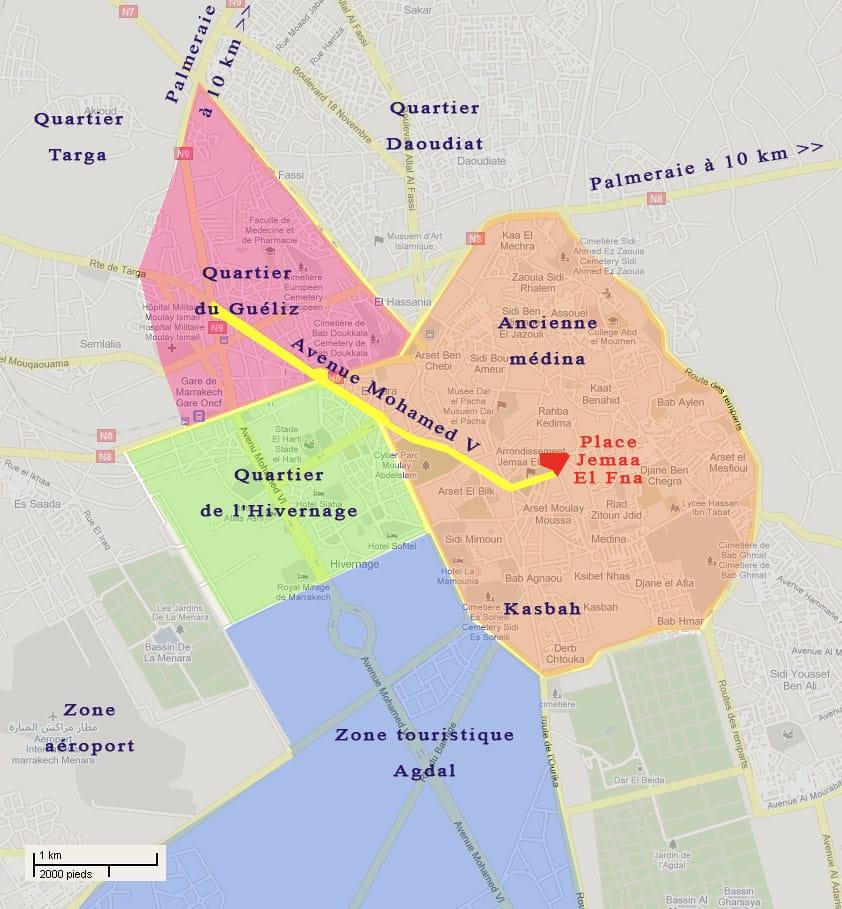 Plan quartier Marrakech - Conseils pour visiter Marrakech et ses alentours