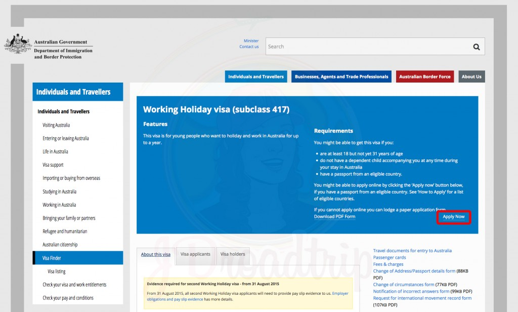 tutoriel pour le visa PVT Australie