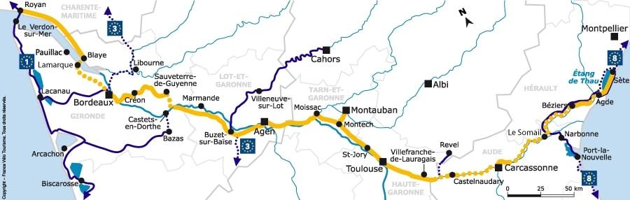 Itinéraire cyclable Canal des 2 mers - Toulouse à Royan à vélo - Carte