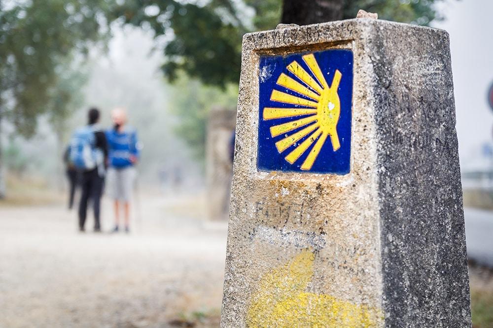 Chemin de Compostelle - Symbole flèche jaune et coquille